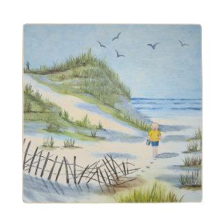 Beach watercolor wood coaster