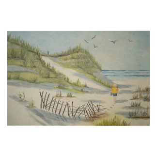 Beach watercolor wood wall decor