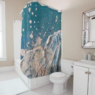 Beach Wave Abstract Art on Canvas Shower Curtain