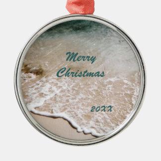 Beach Wavelet Dated Christmas Ornament