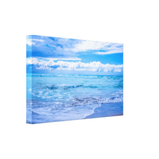 Beach Waves and Clouds Canvas Wrap Canvas Print