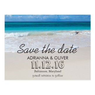 Beach Waves Destination Wedding Save The Date Postcard
