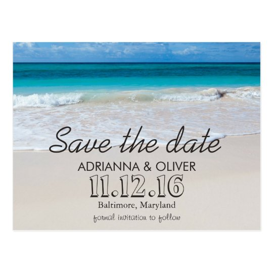Beach Waves Destination Wedding Save The Date Postcard