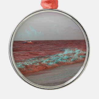 beach waves red teal florida seashore background christmas ornaments