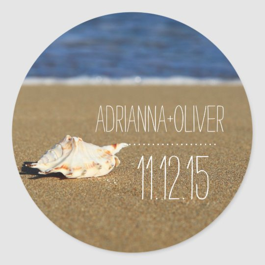 Beach Waves Seashell | Sand | Wedding Favour Classic Round Sticker
