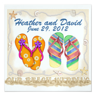 Beach Wedding 13 Cm X 13 Cm Square Invitation Card