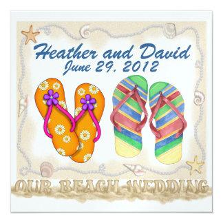 Beach Wedding 13 Cm X 13 Cm Square Invitation Card