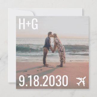 Beach Wedding Airplane Destination Square Photo Save The Date