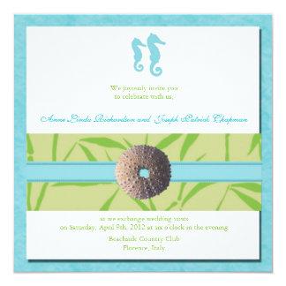 "Beach Wedding - Aqua  Blue wedding invites 5.25"" Square Invitation Card"