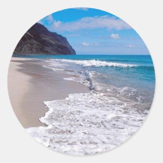 Beach Wedding Backdrop Classic Round Sticker