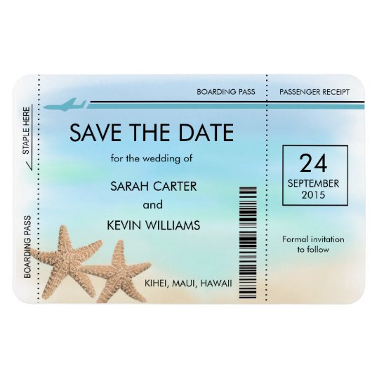 Beach Wedding Boarding Pass Save the Date Magnets