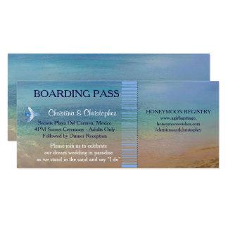 Beach Wedding | Boarding Pass Ticket-Destination 10 Cm X 24 Cm Invitation Card