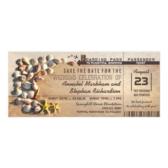 beach wedding boarding pass tickets save the date