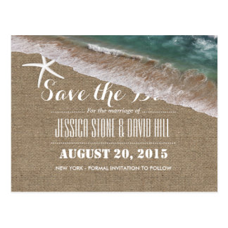 Beach Wedding Burlap & Starfish Save the Date Postcard