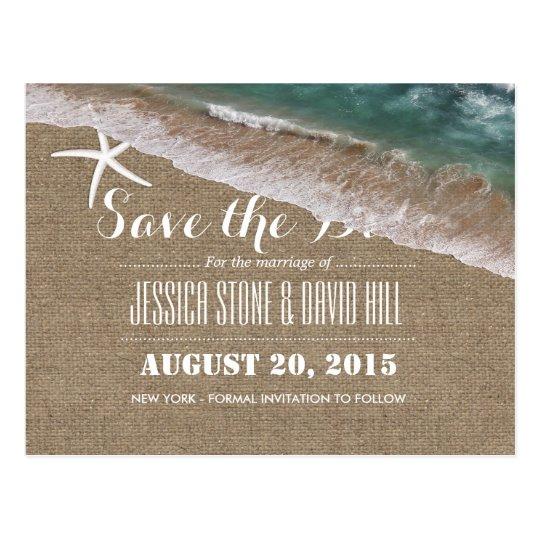 Beach Wedding Burlap & Starfish Save the Date