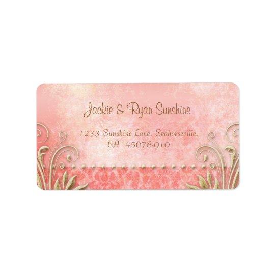 Beach Wedding Coral Gold Vintage Damask Address Label