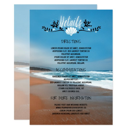 Beach Wedding Details- Information - Insert Card