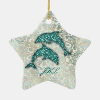 Beach Wedding Dolphin Ornament Vintage Damask