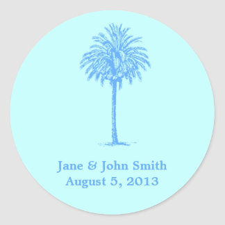 Beach Wedding Envelope Seals - Blue Palm Tree II Round Sticker