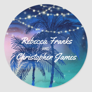Beach Wedding Envelope Seals | Tropical Palm Trees