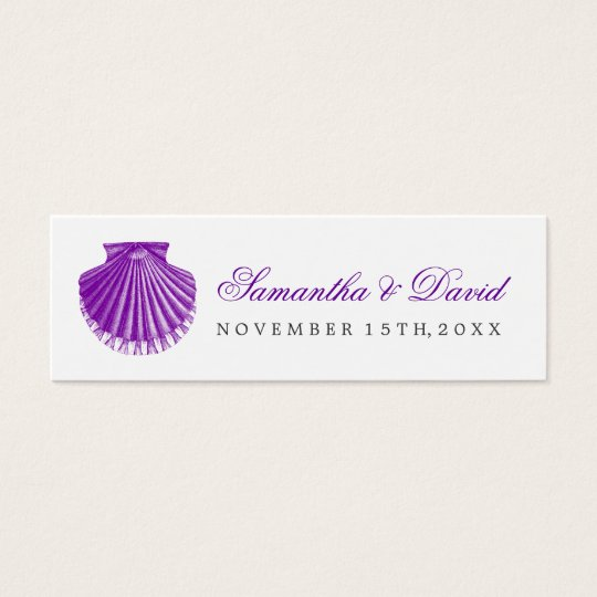 Beach Wedding Favour Tag Scallop Shell Purple