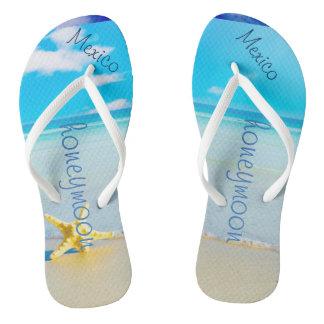 Beach Wedding | Flip Flops | Bride Name | Ocean