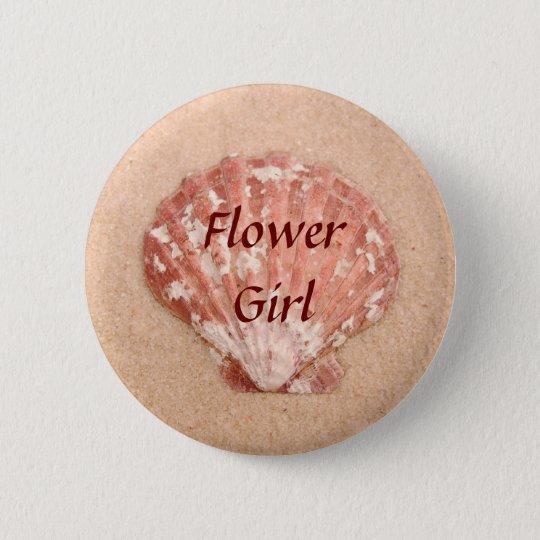 Beach Wedding Flower Girl Button