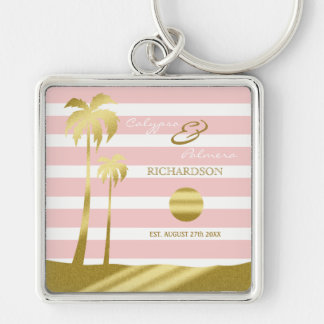 Beach Wedding Gold Glitter Palm Trees Pink Stripes Silver-Colored Square Key Ring