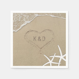 Beach Wedding Heart in the Sand Starfish Disposable Napkin
