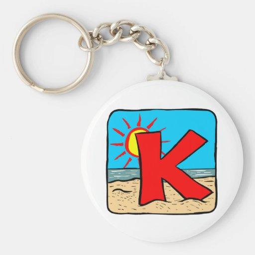 Beach Wedding Ideas Letter K Basic Round Button Key Ring