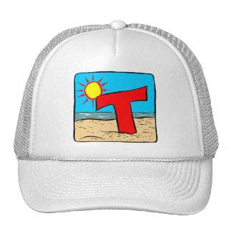 Beach Wedding Ideas Letter T Trucker Hats