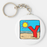 Beach Wedding Ideas Letter Y Basic Round Button Key Ring