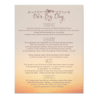 "Beach Wedding Insert ""our big day"" Card"
