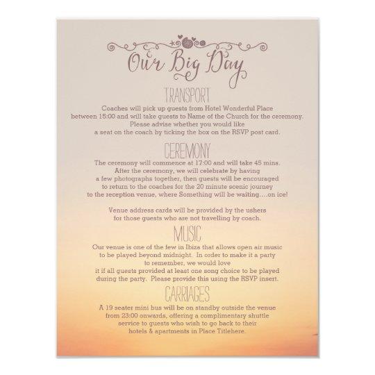 """Beach Wedding Insert """"our big day"""" Card"""
