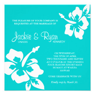 Beach Wedding Invitation Hibiscus Flower Blue