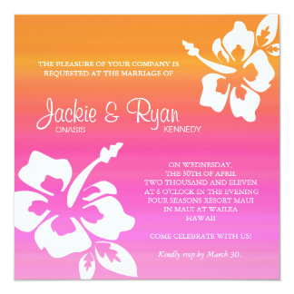 Beach Wedding Invitation Hibiscus Pink Orange