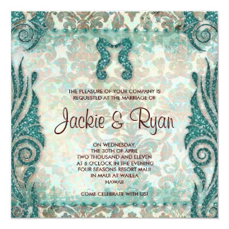 "Beach Wedding Invitation Seahorse Vintage Teal 5.25"" Square Invitation Card"