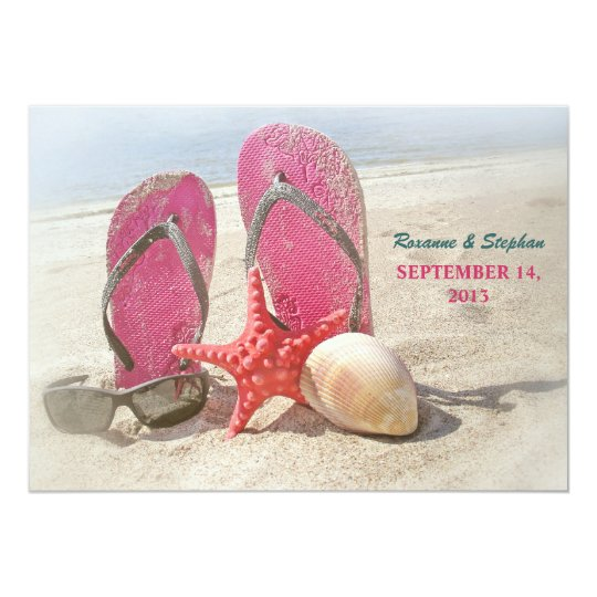 beach wedding invitations with red starfish