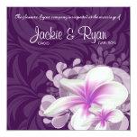 Beach Wedding Invite Plumeria Flower Purple Leaves 13 Cm X 13 Cm Square Invitation Card