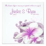 Beach Wedding Invite Plumeria Flower Purple White
