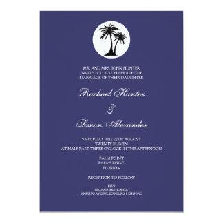 Beach Wedding Invitiation -Blue 13 Cm X 18 Cm Invitation Card