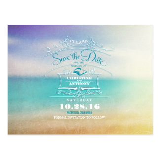 Beach wedding modern save the date postcards