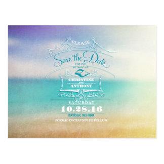 Beach wedding modern save the date postcards