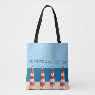 Beach wedding Mother Groom lighthouses sand sea. Tote Bag