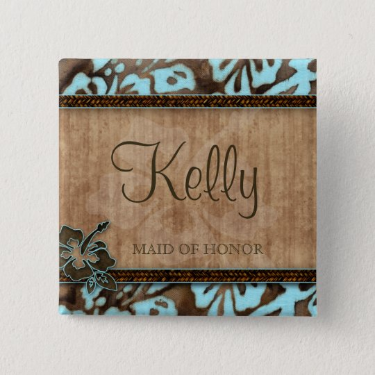 Beach Wedding Name Tag Button Luau Blue Brown