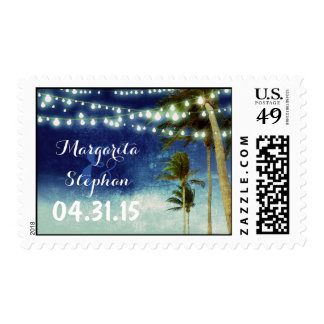 beach wedding navy ombre postage stamps