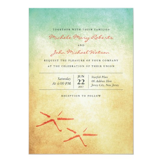 Beach Wedding Pair of Starfish Custom Invitation