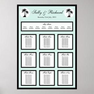 Beach Wedding Palm Tree Table Seating Plan Print