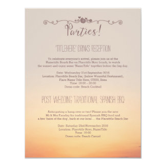 Beach Wedding Parties Details Card