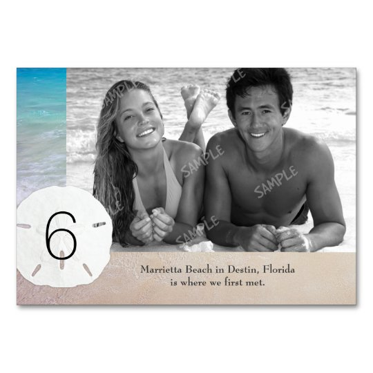 Beach Wedding Photo Story Table Number Cards